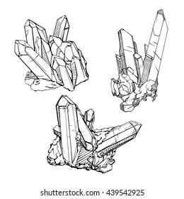 Hand drawing crystal gems. Geometric gemstone