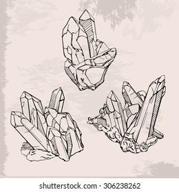 Hand drawing crystals set. Crystal gems sketch illustration