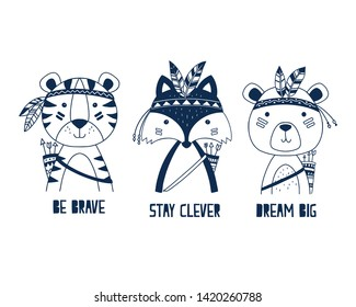 Hand drawing cute animals vector illustration.