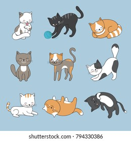 Hand drawing cute cats. Vector kitty collection. Animal kitty od set, cartoon cat character illustration