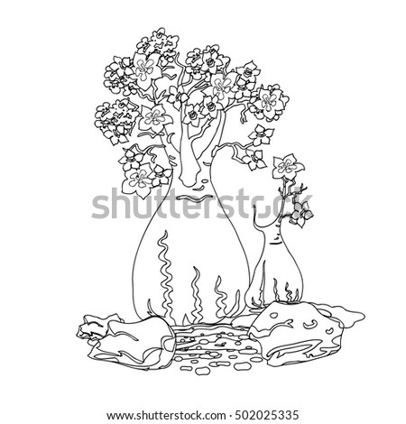 hand drawing decorative lines trees stones stock vector royalty