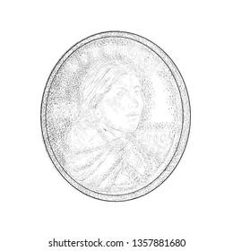 Hand drawing design of sacagawea coin illustration.