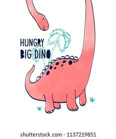 Hand drawing dinosaur illustration vector for kids print design.