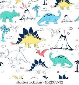 Hand drawing dinosaur pattern vector.