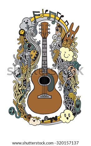 Hand Drawing Doodle Acoustic Guitar Flat Design Vector Stock Vector