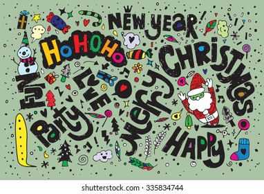 Hand drawing Doodle Christmas background , consisting of text greetings,Flat Design Vector illustration