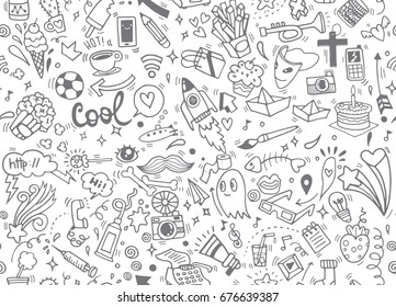 Hand drawing Doodle element, seamless background doodle .Vector hand drawn illustration.