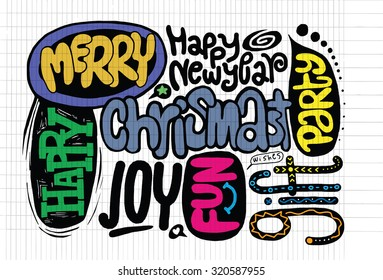 Hand drawing Doodle Flat Design Christmas words,drawing style Pen on Paper Notebook.Vector illustration.