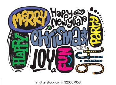 Hand drawing Doodle Flat Design Christmas words.Vector illustration.