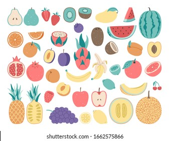 Hand drawing doodle, flat fruit. Citrus, apple, watermelon. orange, lime, coconut, banana, garnet. Isolated set illustration. Vegetarian food, vitamin.