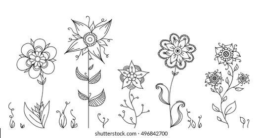 Hand drawing doodle garden with flowers and swirls