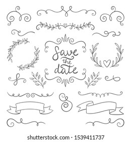 hand drawing doodle page decoration, set of vintage elements vector illustration