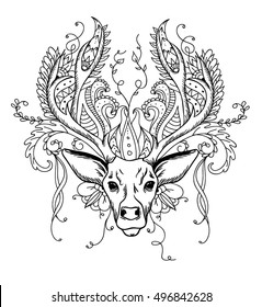 Hand drawing doodle of wild deer with antlers