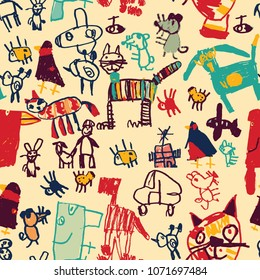 Hand drawing doodles color seamless pattern.