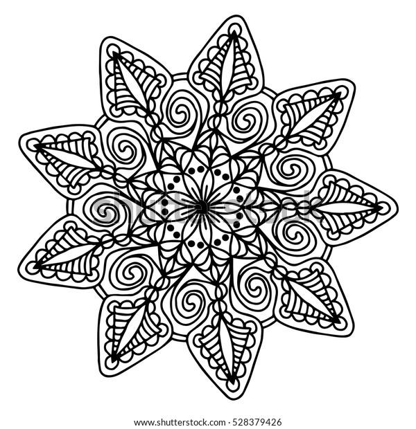 Hand Drawing Doodling Mandala Coloring Page Stock Vector Royalty