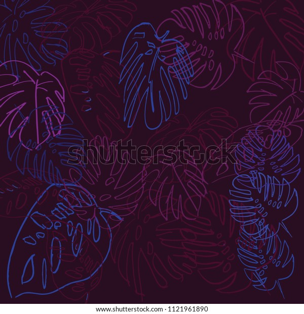 Hand drawing Exotic Palm Tree Pattern Illustration