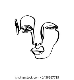 Hand drawing face line art in cubism style. Monochrome print for clothes, textile and other. Vector illustration.