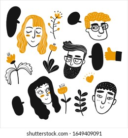 Hand drawing face of people with flower element on white background, Vector Illustration doodle line art style.