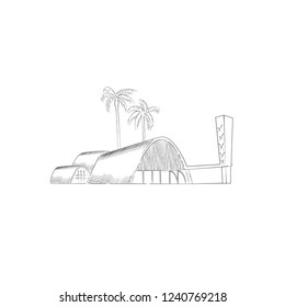 Hand drawing of a famous church located in Pampulha, Belo Horizonte, Minas Gerais – Brazil. November, 25 – 2018. Pointing vintage engrave vector.