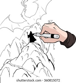 Hand drawing a fantasy illustration of a dragon and a wizard with black marker
