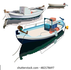 Hand drawing fishing boats, vector illustration
