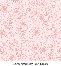 hand drawing flowering cherry, plum or sakura - seamless vector pattern