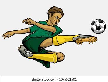 Hand Drawing Football Player Doing Bicycle Kick