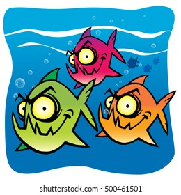 Hand drawing of a Fun and funny Cartoon piranha group swimming by.