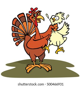 Hand drawing of a Fun and funny Cartoon turkey grabbing a chicken by the neck and pointing with the other wing as if he was saying eat chicken not turkey