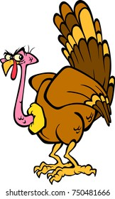 Hand drawing of a Fun and funny Cartoon turkey character in eps format