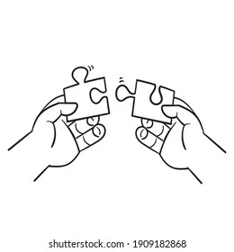hand drawing of hands solving jigsaw puzzle illustration in doodle style vector
