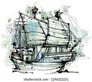 Hand drawing hanseatic ship with isolated on white. Reduced to one layer. Painted with abstract pattern.