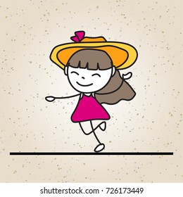 hand drawing happy girl line art. abstract people. happiness concept and vector illustration