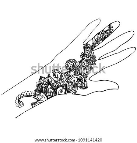 Hand Drawing Henna Tattoos Drawings Mehendi Stock Vector Royalty