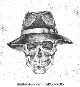 Hand drawing hipster skull with hat on grunge background. Hipster fashion style