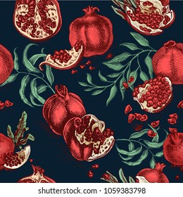 Hand drawing illustratiion pomegranate colorful. Vector illustration fruit pattern.