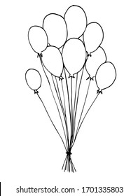 Hand drawing illustration of a balloon sketch on a white background party decoration celebration illustration air vector symbol birthday line object fly carnival