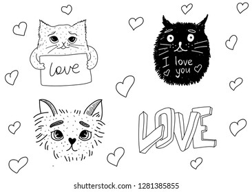 Hand drawing illustration. Cats and heart love. Valentine's day concept