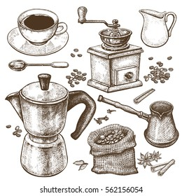 Hand drawing illustration Coffee time. Coffeepot, Turkish ibrik, coffee-grinder, cup, milk jug, dessert spoon, coffee beans, spices cinnamon and star anise isolated on white background. Vintage art.