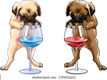 Hand drawing illustration little puppy of two colors with a glass of wine. A bulldog pug puppy stands on two legs and holds on to a glass of colored water. bulldog puppy looking at water in a glass
