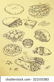 hand drawing  illustration with pitta