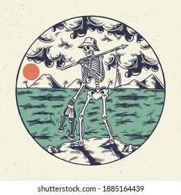 Hand drawing illustration skeleton skull, the concept from skeleton hunting the fish on the beach. Design for tshirt design or merchandise
