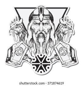 Hand drawing illustration of Slavic god Perun