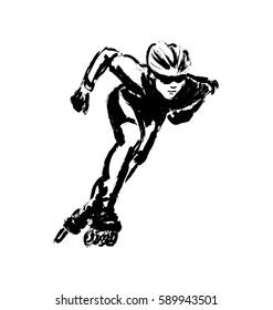 Hand drawing inline skating. Vector illustration