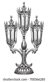 Hand drawing isolated illustration of old street carving lamp in black color on white background