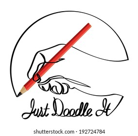 """Hand drawing itself as a doodle with words """"Just Doodle It""""."""