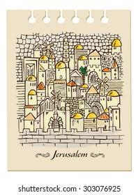 hand drawing Jerusalem
