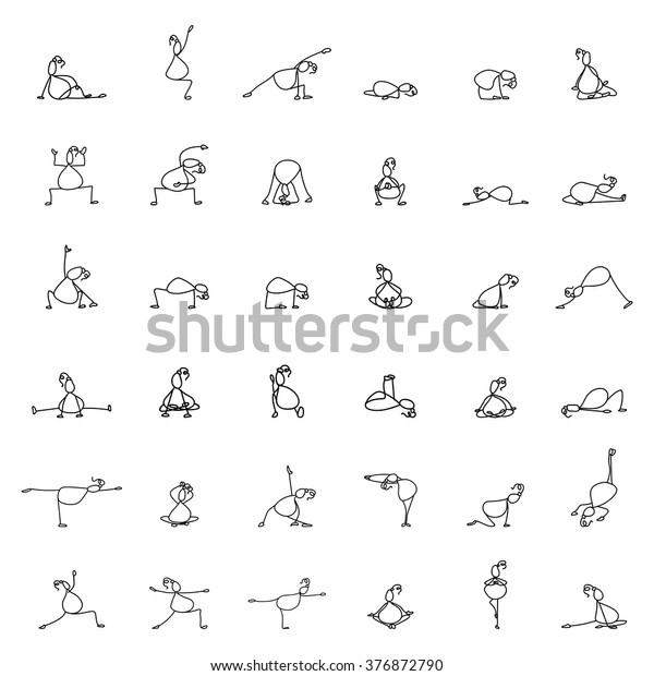 Hand Drawing Line Cartoon Yoga Pregnancy Stock Vector Royalty Free 376872790