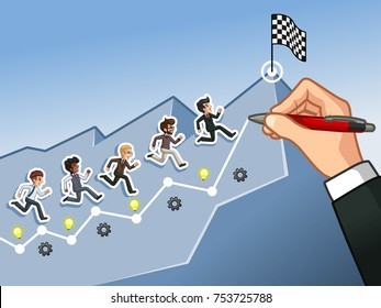 Hand drawing a line leading to the goal, running towards the goal businessman concept, isolated against blue background.