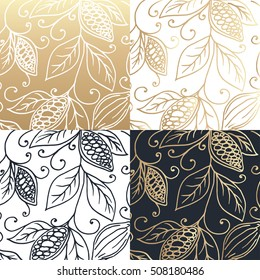 Hand drawing logo designes of cocoa beans. Vector illustration